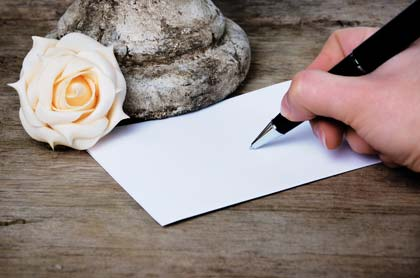 Briefpapier für eine Trauerkarte