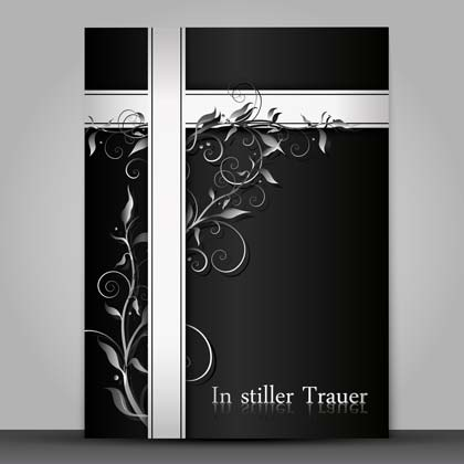 Trauerkartenvorlage in Schwarz-Weiß