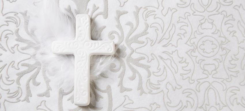 Weisses Kreuz und Feder vor Pflanzenmuster