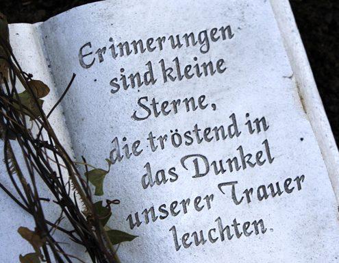 Trauerspruch auf Grabstein mit Zweigen